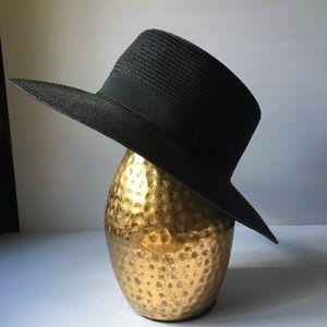 Black Flat Brim Boater Hat